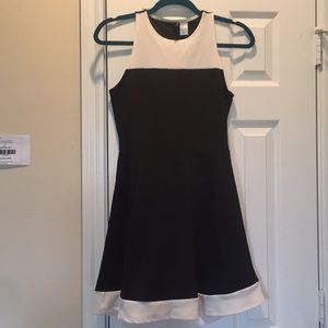 H&M black dress white trim open back